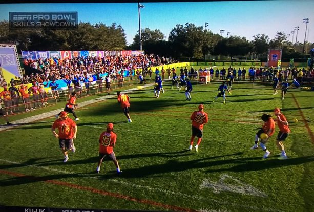 You know the Pro Bowl is getting desperate when NFL Players are playing  dodgeball. Watch the AFC team and NFC team battle it out in a game of  dodgeball.-TO 783802c0a