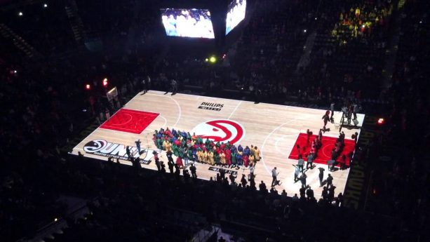 Hawks get help on player introductions by a full gospel choir for MLK Day