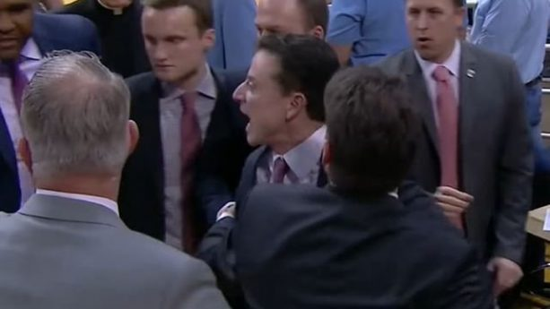 Rick Pitino Had to Be Held Back From a North Carolina Fan