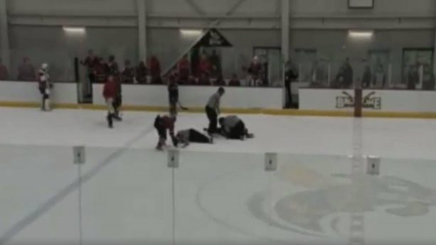 Community College player Storms out of Penalty Bbox to Tackle Referee