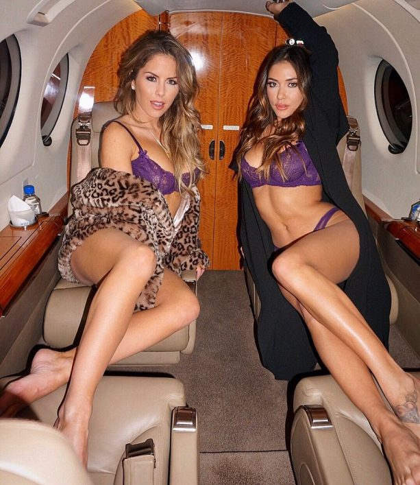 UFC Octagon Girls In Lingerie On A Private Jet