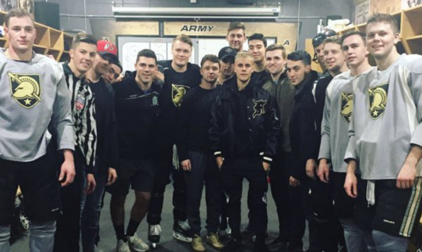 Justin Bieber Hits The Ice With West Point