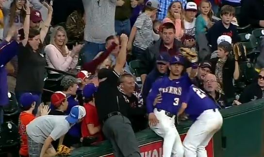 LSU's Shortstop Jumped Over His Teammate Into The Stands To Make A Catch