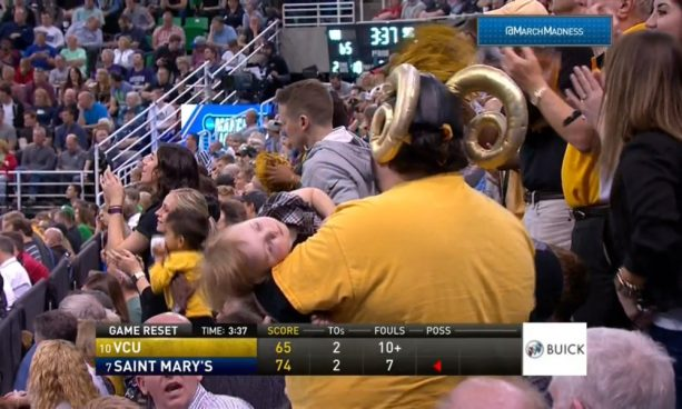March Madness Bad Dad Cheers with Passed out Kid