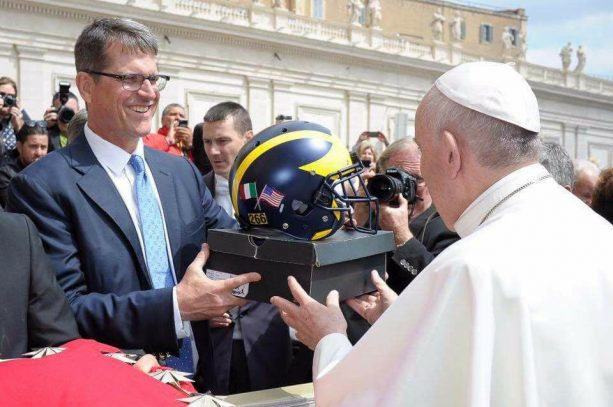 Jim Harbaugh Gifts the Pope Jordan 5 PE's