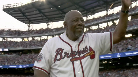 Hank Aaron Threw Out The First Pitch At The Atlanta Braves New Stadium