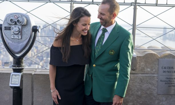 Sergio Garcia Showing off his Green Jacket and Fiance