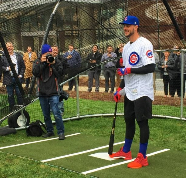 043e0afc90e Kris Bryant Rocking a Pair of Harden Vol. 1's for Chicago River Batting  Practice