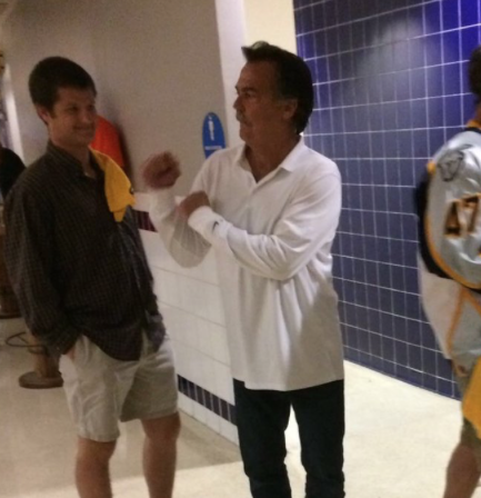 Former Rams Coach Jeff Fisher Getting loose At Ducks Game