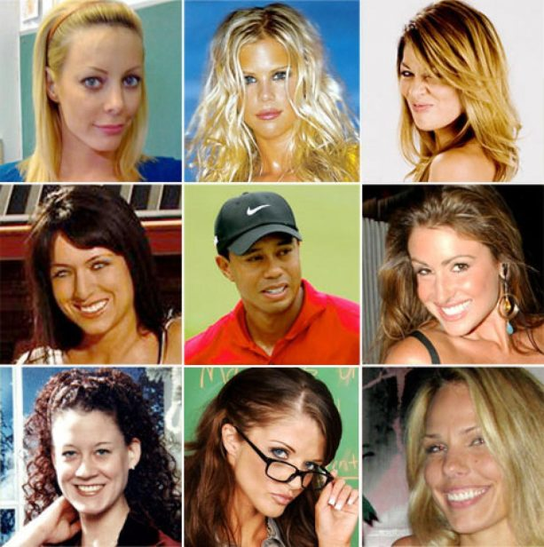 How many women did tiger woods cheat with