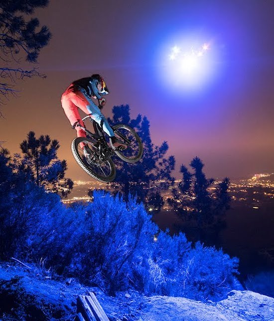 Loic Bruni's Midnight MTB Ride on a Trail lit by a Drone