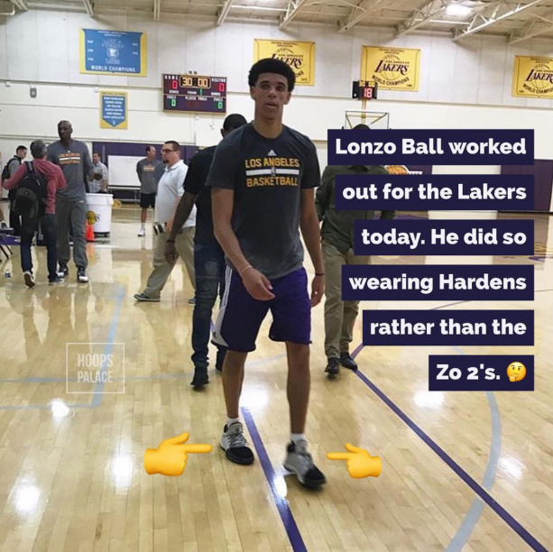 Lonzo Ball Worked Out For Lakers Wearing Adidas