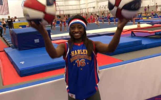 Simone Biles Attempts to be a Harlem Globetrotter