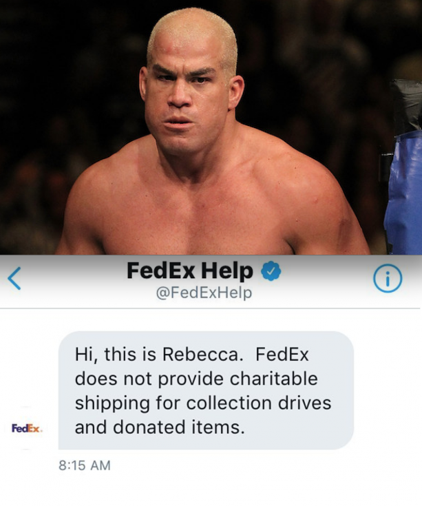 Tito Ortiz Finds Out That FedEx Won't Ship Charitable Items To Hurricane Harvey