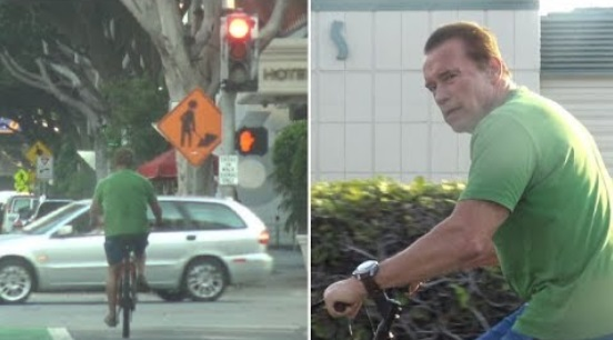 Arnold Schwarzenegger Runs 3 Red Lights While Cycling