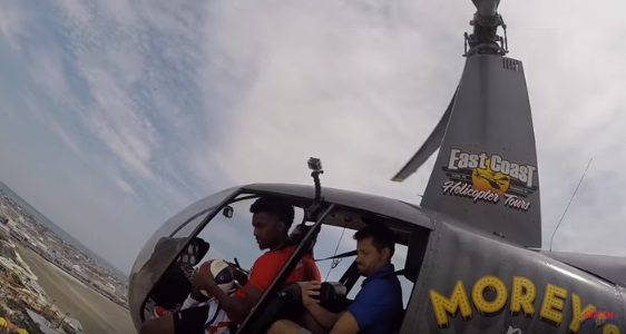 Harlem Globetrotter Give the Helicopter Shot a Whirl