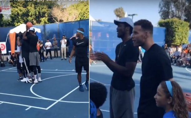 Blake Griffin Watches a Guy Dunk over 5 people Full Grown Men