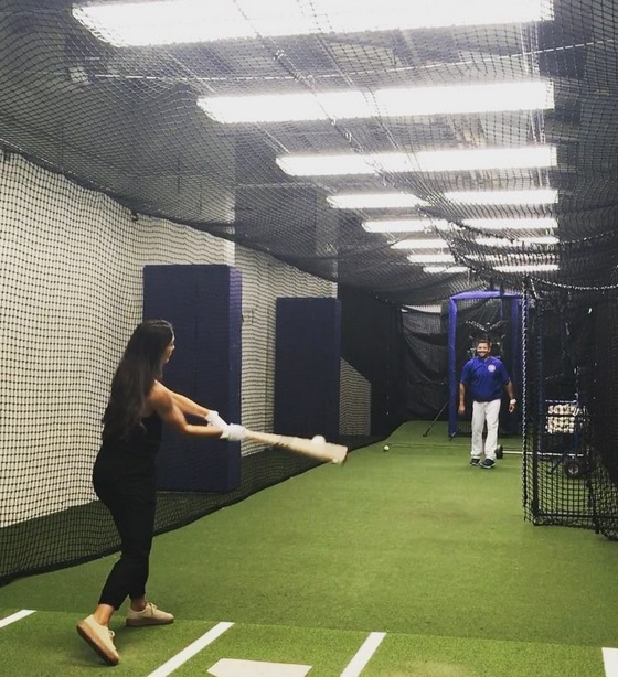 Allison Stokke Takes Some Cuts in Wrigley Field's Underground Batting Cage