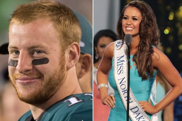 Carson Wentz and Miss America Exchange Pleasantries