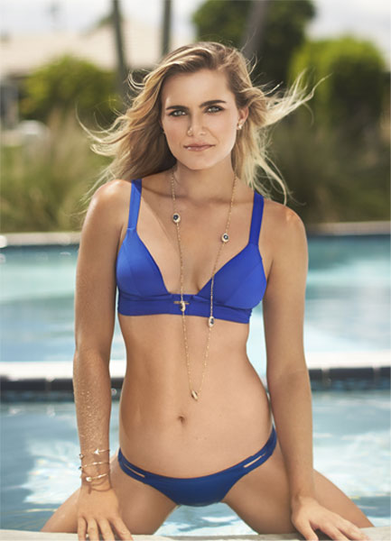 With her tall body and Light blond hairtype without bra (cup size 34A) on the beach in bikini
