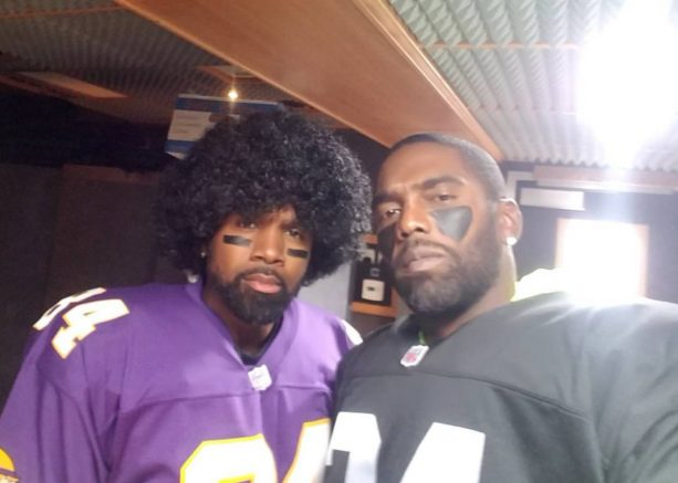 Charles Woodson and Randy Moss Dressed Up As Each Other For Halloween