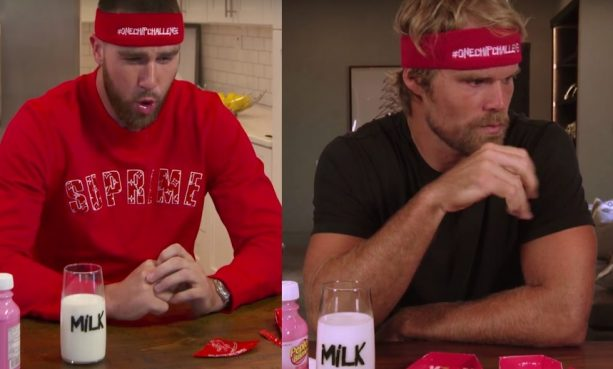 Travis Kelce & Greg Olsen spicy chip challenge