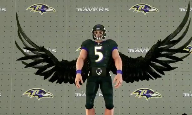 ESPN Doing too much with Half Flacco Half Raven Hybrid Graphic