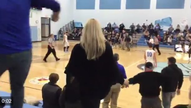 Check out this Knock Out Punch in a High School Basketball Game