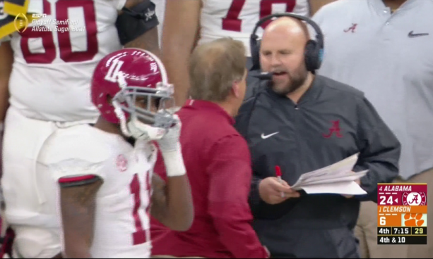 Watch Nick Saban Breathe Fire in Offensive Coordinator's Grill