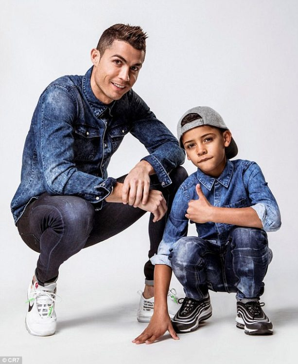 Ronaldo and Son Featured in Double Denim Campaign