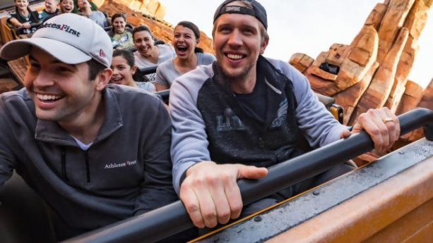 Mickey Wore Patriots Colors with Nick Foles at the Happiest Place on Earth