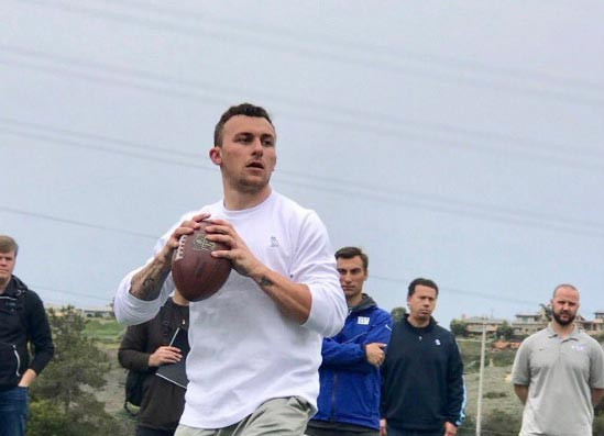 Johnny Manziel Slinging It All Over The Yard At Pro Day
