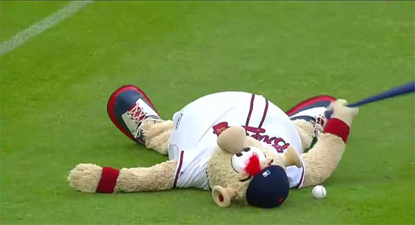 Braves Mascot Takes Baseball To Groin (VIDEO)