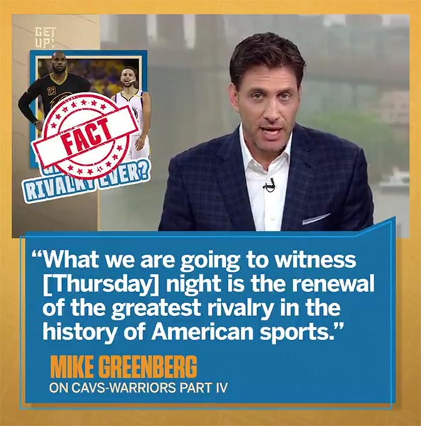 Watch: Mike Greenberg Explain Why Warriors-Cavs Is The Greatest Rivalry In American Sports History
