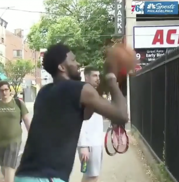 Joel Embiid Hitting Buckets On The Playground In Philly