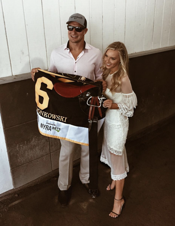 Rob Gronkowski At The Belmont Stakes With His Girlfriend