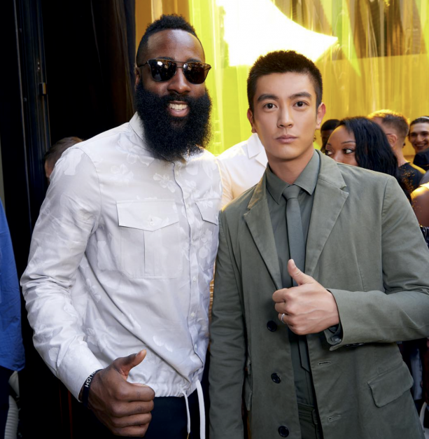4074577ea1de ... Neil Barrett and James Harden attend the GQ Milan Cocktail Party during  Milan Men s Fashion Week Spring Summer 2018 19 on June 16