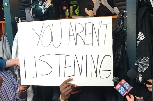 Watch: Malcolm Jenkins Conducts Media Session With Handwritten Signs About Social Injustice