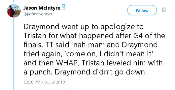 Report: Tristan Thompson Punched Draymond Green At An ESPYS After Party (TWEETS)