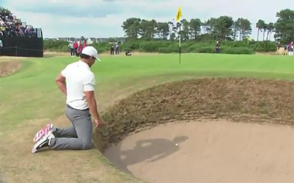 Brooks Koepka Tried And Failed To Hit A Bunker Shot From His Knees