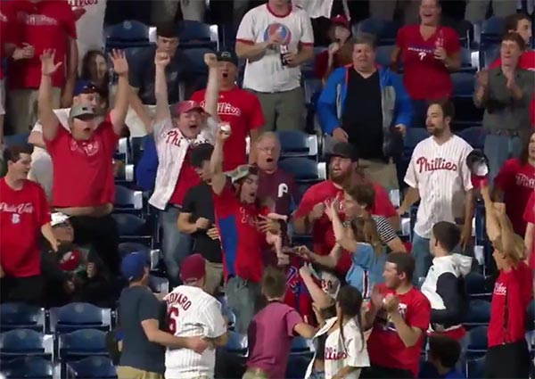 Phillies Fan Keeps Baby Safe With One Hand And Catches Home Run With The Other (VIDEO)
