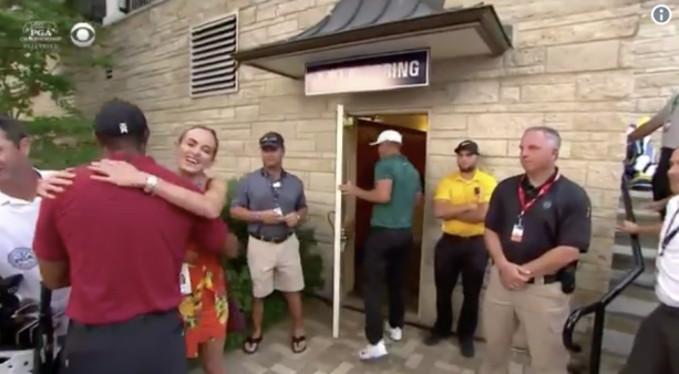 Tiger Woods Gave Brooks Koepka's Girlfriend A Big Hug After The Final Round
