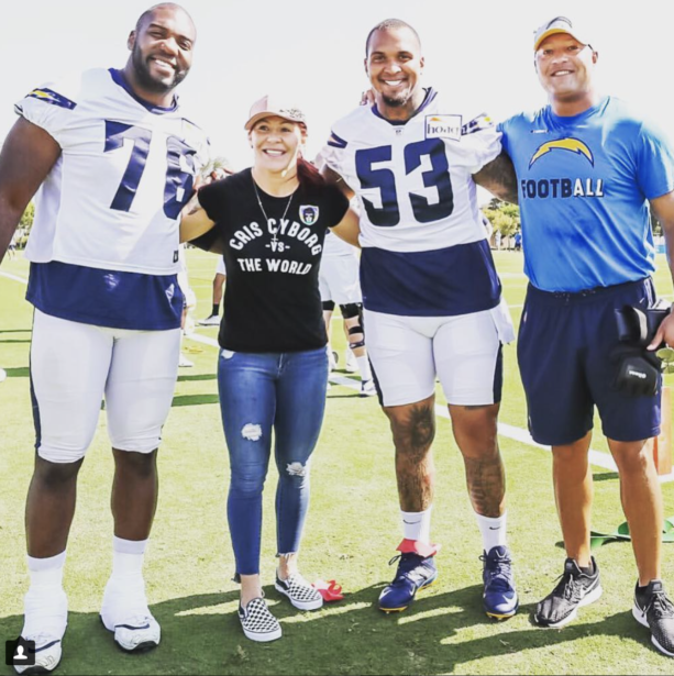 Cris Cyborg Doing Work At Los Angeles Chargers Camp