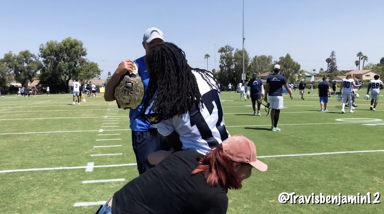 UFC Champion Cris Cyborg Does Drills At Los Angeles Chargers Camp