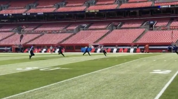 Browns stadium security practices tackling people that run onto the field