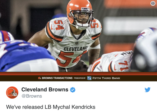 The Cleveland Browns released linebacker Mychal Kendricks after he was  charged Wednesday with insider trading. He made nearly  1.2 million in  illegal ... ffda61d2c