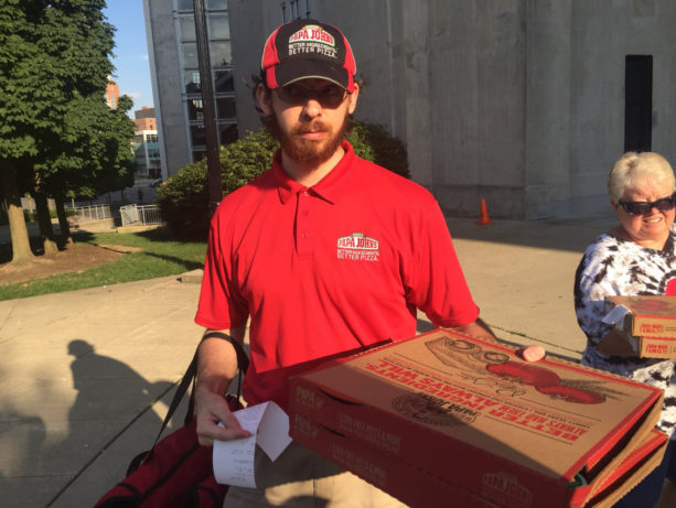 Papa John's Pizza Sent To Ohio State Fans Protesting Urban Meyer Case Outside Ohio Stadium