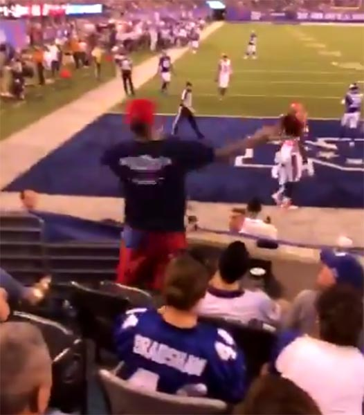Watch This Hardcore Giants Fan Throw Back Baker Mayfield's First TD