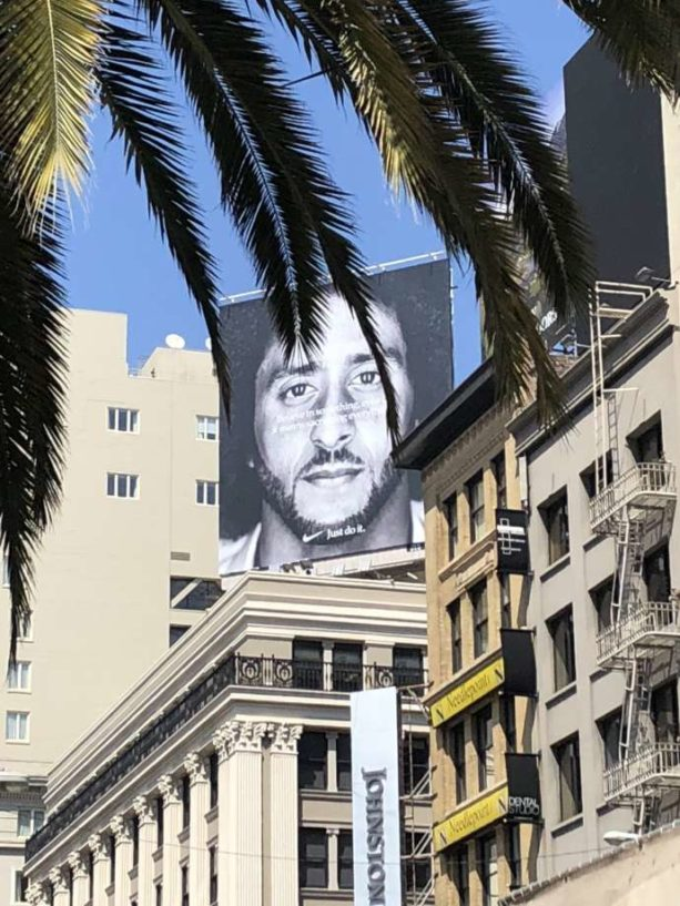 Colin Kaepernick billboard above Nike store in San Francisco's Union Square