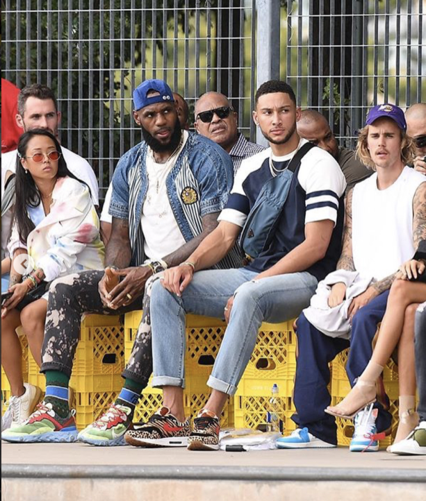 LeBron James, Ben Simmons, Kevin Love Kicking It With Justin Bieber